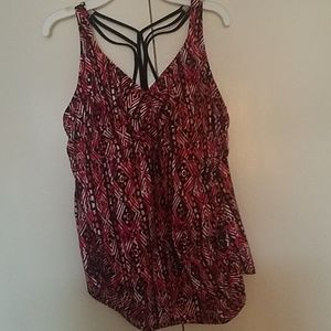 Ava Viv tiki batik tribal tankini swim top 14 nwt